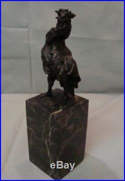 Statue Coq Oiseau Style Art Deco Style Art Nouveau Bronze massif Signe