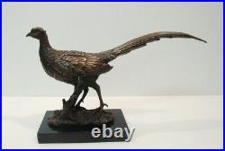 Statue Faisan Chasse Style Art Deco Style Art Nouveau Bronze massif