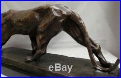 Statue Panthere Style Art Deco Style Art Nouveau Bronze massif Signe