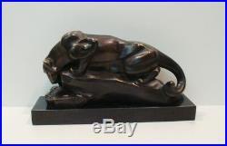 Statue Sculpture Cougar Animalier Style Art Deco Style Art Nouveau Bronze massif