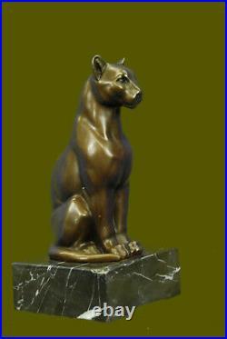 Statue Sculpture Cougar Vie Sauvage Art Déco Style Nouveau Bronze Signé