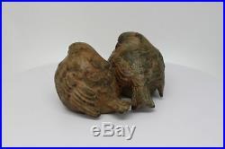 Statue Sculpture Couple de moineau Oiseau Animalier Style Art Deco Bronze massif