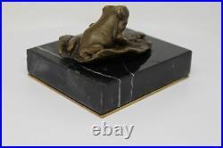 Statue Sculpture Grenouille Animalier Style Art Deco Bronze massif Signe