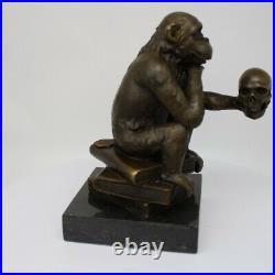 Statue Sculpture Singe Animalier Style Art Deco Bronze massif Signe