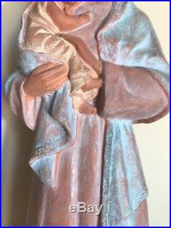 Statue Vierge à L'Enfant, Terre Cuite Art Deco, Rose Blanchard