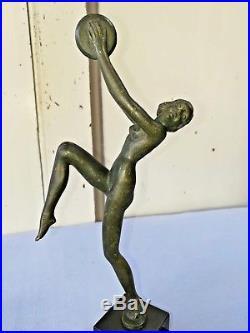 Statuette Sculpture En Bronze Danseuse De Style Art Déco