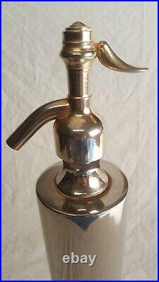 Superbe Ancien très Grand Siphon En Métal Argenté Art-déco vintage design 52cm