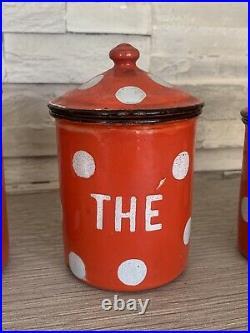 Superbe Ancienne serie de pots a épices en Tole émaillé cuisine Vintage ART DECO