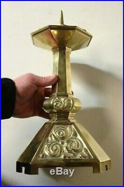 Superbe Paire de Pique-Cierge Art Déco Bronze argenté bougeoir chapelle église