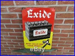 Superbe Plaque émaillée ART DECO EXIDE batteries garage 1930/1940