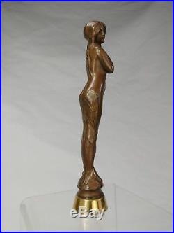 Superbe Sceau A Cacheter Facon Bronze Epoque Art Nouveau Femme 1900 Statue Deco