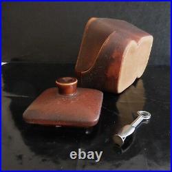 Tabatière à pipe faïence cuir fait main LONGCHAMP Design Art Déco France N3130
