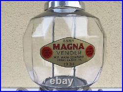 Très rare distributeur cacahuètes bonbons magna vender 1934 usa art deco
