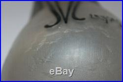Vase LEGRAS Art déco verre givré gravé et bleu SIGNE collection