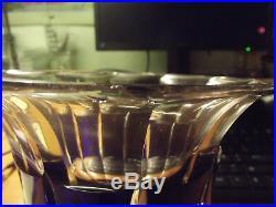 Vase bleu Art Déco en Cristal Signé Baccarat