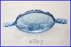 Verlys pièce maîtresse en verre artistique rare dans la collection Art Déco bleu