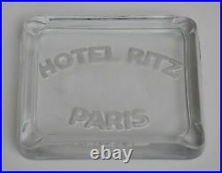 Vintage Hotel Ritz Paris cendrier ART DECO en verre, années 1930